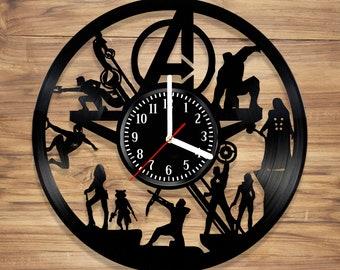 Avengers Vinyl Record Wall Clock Marvel Comics Guardians Galaxy Spiderman Infinity War Art Home UNIQUE GIFT idea for Him Her (12 inches)