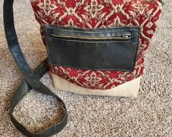 Red and Burlap Crossbody Handbag