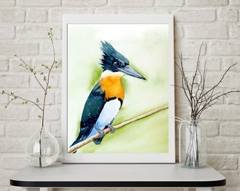 Kingfisher bird artwork Watercolor Print artwork Nature lover Watercolour painting wall art decoration Poster gift common Kingfisher