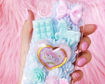 Melody iPhone x Decoden case, kawaii iphone x case, pastel unicorn case, kawaii decoden case, iphone x decoden, melody decoden