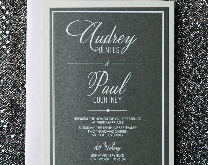 Purple & Grey Modern Industrial Geometric Wedding Invitation with Details Insert, RSVP and Envelope Liner - Color Options Available