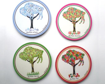 Buffalo Tree Coasters - Four Seasons