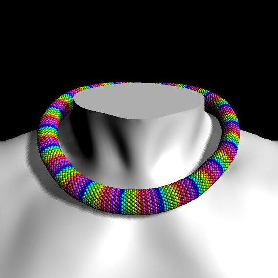 Rainbow Bead Crochet Pattern Pdf For Bracelet Necklace Jewelry