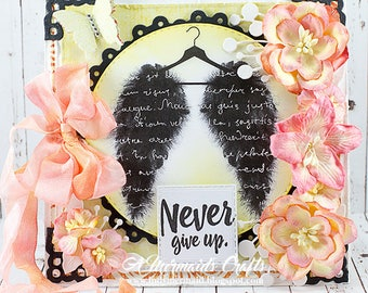 Shabby Chic Never Give Up Encouragement Card