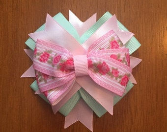 Pink and mint roses over the top hair bow