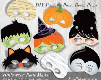 DIY Halloween printable masks, photo booth props, kids mask patterns, mummy mask, cat mask, witch mask, vampire mask, pumpkin mask PP007