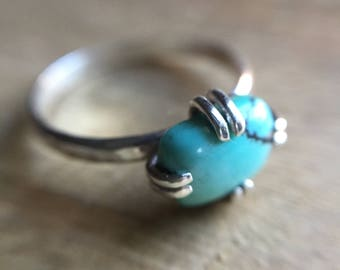 Turquoise and Silver Prong Ring / dainty blue ring / boho style ring/ cushion cut rectangle
