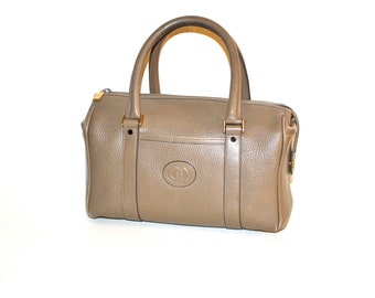 GUCCI Vintage Speedy Tote Taupe Pebbled Leather Doctors Bag - AUTHENTIC -