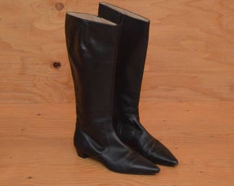 Vintage 90's Black Boots Knee High Leather Extremely Pointed Toes With Small Heel Size 9