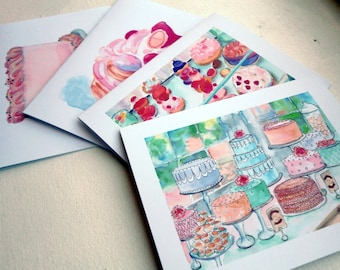 Cute Cake Cards - Cakes and Pastries Greeting Cards - Bakery Sweets Watercolor Art Notecards - Food Illustration Cards - Set of 12 Cards