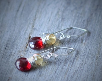 Garnet Earrings - Citrine Earrings - Garnet - Citrine - Silver - Gemstone Earrings - Fall Jewelry - Fall Colors  -multi stone