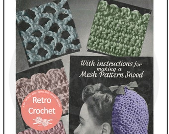 1940s Snood Vintage Crochet Pattern - PDF  Instant Download