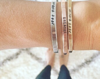 Mantra cuff bracelet - inspirational personalized bracelet cuff