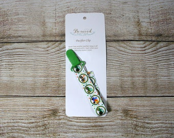 Pacifier Clip, Paci Clip, Binky Clip, Teether Clip, Tractors and Trucks, Green