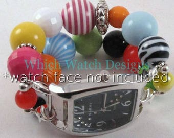 Summer Fun.. Bright Multi Colored Interchangeable Beaded Watch Band, Yellow, Hot Pink, Lime, Blue, Orange