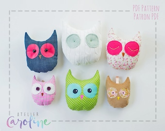 Owl sewing pattern, wall faux taxidermy. owl decoration easy sewing pattern