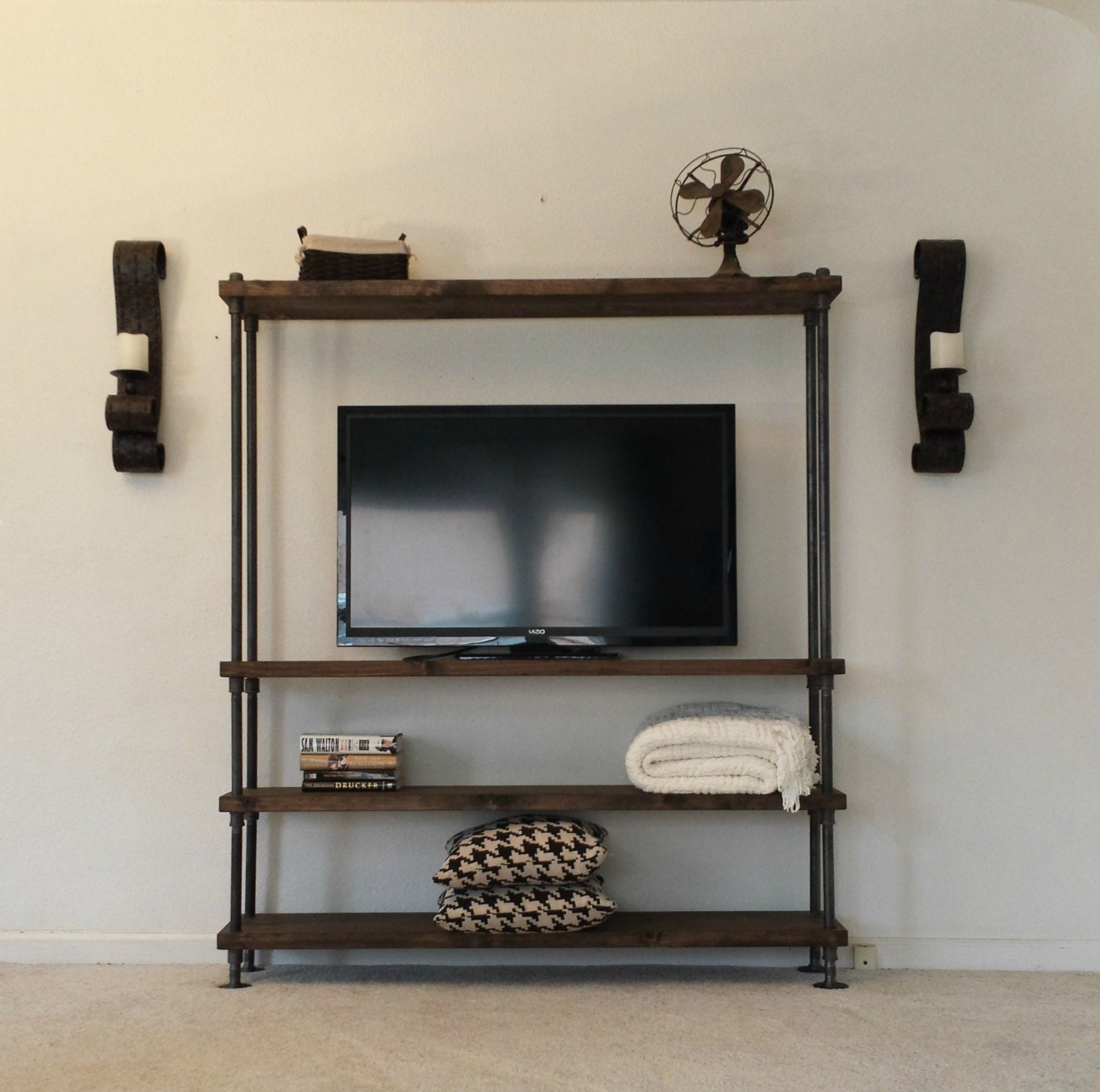 Industrial Entertainment Center Tv Stand Media Center # Meuble Tv California