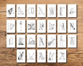 ABC Flash Cards - Alphabet Flash Cards - Music Flash Cards - ABC Flashcards - Alphabet Flashcards - ABC Art - Alphabet Art - Music Alphabet
