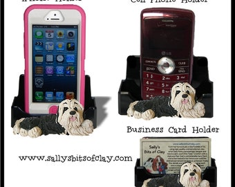 Black and White Bearded Collie Holder for Cell Phone IPod IPhone or Business Cards OOAK by Sally's Bits of Clay