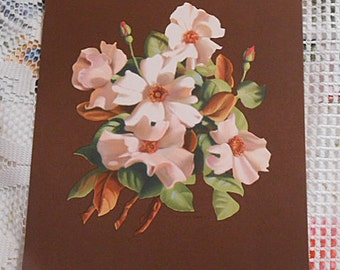 Cream GARDENIAS & Pink ROSES Litho Print Lovely Bouquet, Bright Colors Brown Stock Vintage 1950s Signed Botanical Barkcloth Era Art 8 x 10