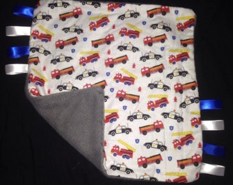 Fire truck and police theme tag blanket
