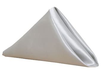 YCC Linen - Silver Napkin for Weddings Pack of 10 | Wholesale Satin Napkins