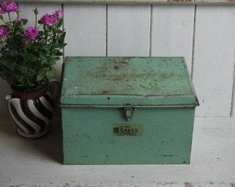 Unusual Green Vintage Cake Tin - Garrison Brand