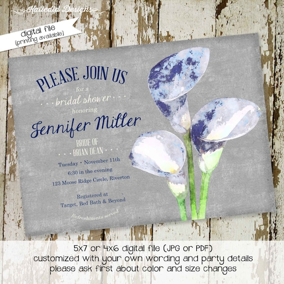 Couples Bridal Invitation floral chic invite I do BBQ engagement party stock bar after party blue gray lily gay shower 306 Katiedid Designs