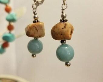 Gemstone earrings amazonite and jasper