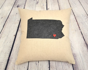 Custom Pillow - Pennsylvania Pillow - 18 x 18 cover only - Personalized Gifts for Mom - Gift for Girlfriend - Mother's Day