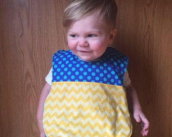 Full Coverage Baby Bib- Two Toned- Yellow Chevron- Michael Miller- Ta Dot Cobalt
