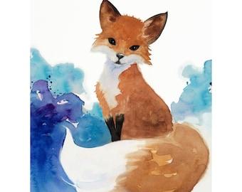Watercolor Fox Art, Nursery Art, Kids Art, Woodland Painting, fox Illustration, Fox Art, Fox print,Childrens room decor wall, Nursery Art
