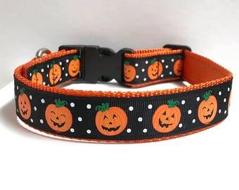 """1"""" Happy Pumpkin & Dots Collar"""