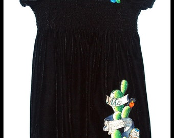Girls Rockabilly Dress in Black Velvet  Day of the Dead and Roses ........Size 10-12
