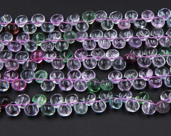 """Natural Fluorite 8mm x 8mm Drilled Polished Finish Teardrop Beads 16"""" Strand"""
