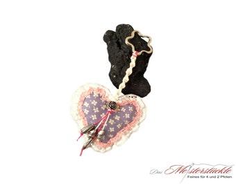 light blue country heart bag keychain