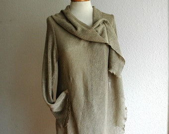 LINEN  Cardigan Natural , Linen Knitted, Eco Friendly, Sweater Wrap, Clothing Natural ,Made of Pure Linen,Knitwear Cardigan