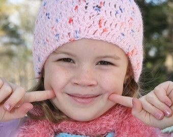 Pure Wool Crocheted Girl's Beanie Winter Hat - Rose Dew 99