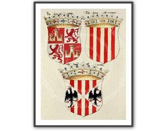 Medieval Crowns Heraldry Prints Heraldic Shields Renaissance Coat of Arms European Crest Wall Art Man Cave Art Decor Antique Maritime ap 161