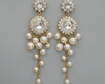 Chandelier Earrings,Ivory Pearl Wedding Earrings, Swarovski Crystal Earrings, Vintage earrings, Gold Wedding Earrings for Brides