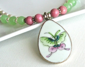 Butterfly Shard Necklace - Jade,Rhodonite,Pearl Necklace, Pink Green, Gemstone Necklace