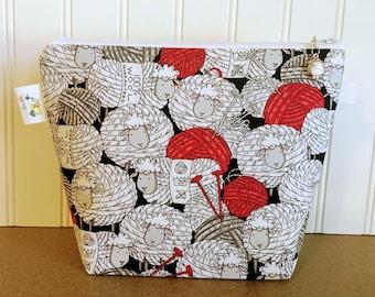 Knitting Project Bag, Project Bag, Knitting Bag, Sheep Wedge Bag, Sock Project Bag, Yarn tote bag, Yarn Bowl, Knitting Bag Zipper