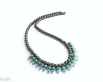 Bohemian style, grey necklace, artisan necklace