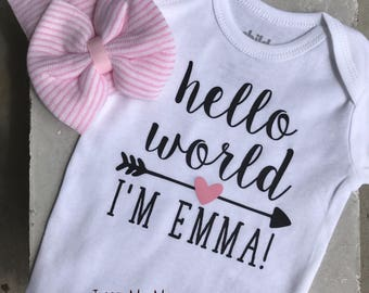 Hello World Newborn Outfit with Handmade Bow Hat , Personalized Bodysuit, Baby Shower Gift, Take Home Outfit, Hello World, Baby Girl Outfit