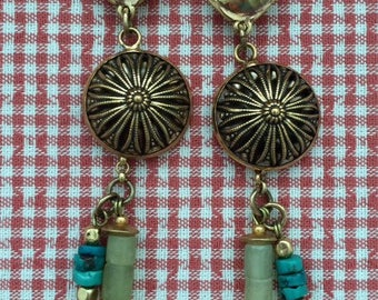 Earrings with clips and semi precious stones