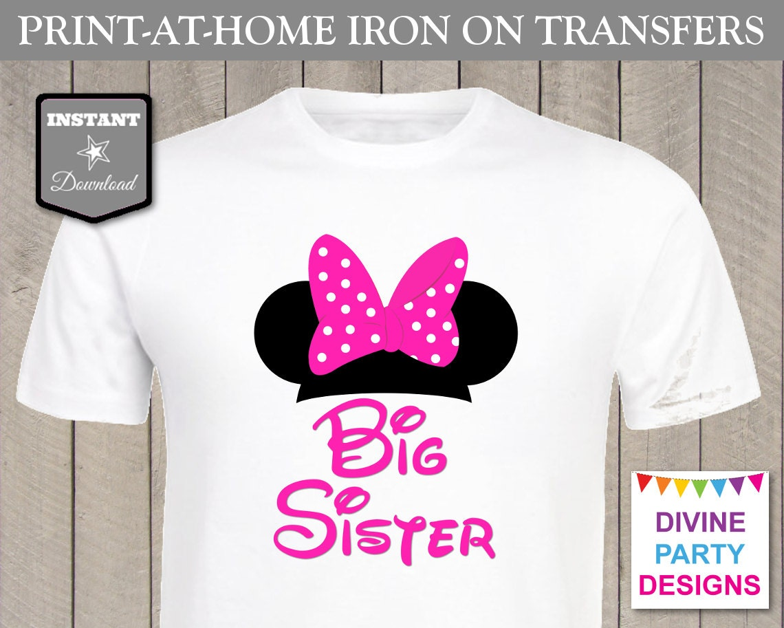 SALE INSTANT DOWNLOAD Print at Home Hot Pink Mouse Big Sister
