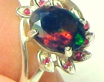 Sz 6.5, Black Welo Opal Ring,Natural Gemstone,Sterling Silver Ring,Ethiopian Opal Ring,Ruby Accents,Flower Ring,Fine Jewelry