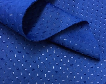 Royal Blue Scuba Knit Fabric Neoprene Polyester Spandex Embossed Sold BTY 58'' Wide Pin