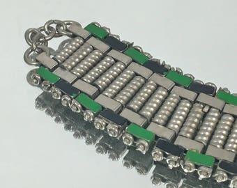 Bracelet Jakob Bengel 1930s  Black and Green Enamel & Metal Vintage Bracelet
