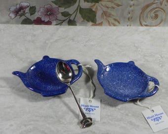Tea bag Holders/ Shower Favor/Set of 2/ceramic/handmade/handpainted/ring holder/spoonrest/brillo holder